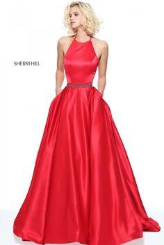 Sherri Hill 51036 Alluring Red A-Line Satin Halter Dress