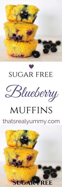 Moist, delicious and sugar free Sugar Free Blueberry Muffins, Blueberry Cupcakes, Blue Berry Muffins, Sugar Free Baking, Sugar Free Treats, Sugar Free Recipes, Healthy Sugar, Healthy Treats, Healthy Recipes