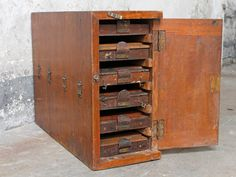 An original Indian typesetting printer cabinet which has been re-purposed as a convenient storage rack for the home. Teak Garden Furniture, Diy Pallet Furniture, Furniture Logo, Furniture Sale, Discount Furniture, Painting Kids Furniture, Red Painted Furniture, Printer Cabinet, Printer Storage