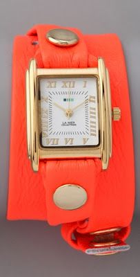 Cute! Love the cuff look, way more interesting than a regular watch. love the bright color too!