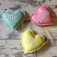 Mr and Mrs Banner  Mr and Mrs Bunting  Felt Hearts  by Tildyfloss