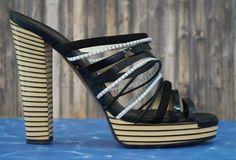 d3893665bf19 FENDI 39 Black Leather Suede Strappy Striped Platform Sandals US 9  Fendi   PlatformsWedges  Casual
