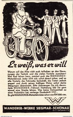 Werbung - Original-Werbung/ Anzeige 1936 - WANDERER MOTORFAHRRAD / SIEGMAR-SCHÖNAU B. CHEMNITZ - ca. 65 x 110 mm