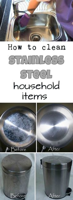 How to clean stainless steel household items - Comment nettoyer les surfaces en inox Household Cleaning Tips, Cleaning Recipes, House Cleaning Tips, Deep Cleaning, Spring Cleaning, Household Items, Cleaning Hacks, Kitchen Cleaning, Cleaning Checklist