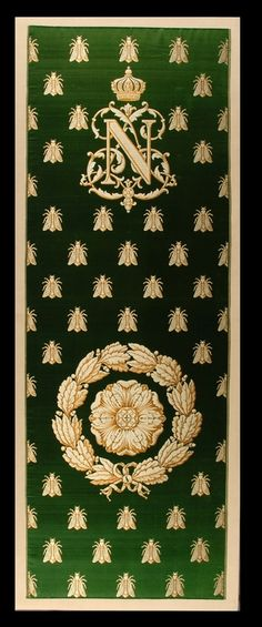 Furnishing Brocade, with devices of Napoleon III Large strip unused furnishing fabric, pure silk brocade, Jacquard woven complete to selvages, emerald green satin background to pattern of bees, and NL monogram under crown. A rose design is in a wreath. All this in shades of yellow and orange to give gold effect.