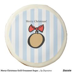 1d8d38c83a6944 Merry Christmas Gold Ornament Sugar Cookie Blue Christmas Sweets