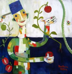 Johnny Appleseed Acrylic on canvas 30x30 © Barbara Olsen I added a bit more work to this piece 3/14  barbaraolsen.com