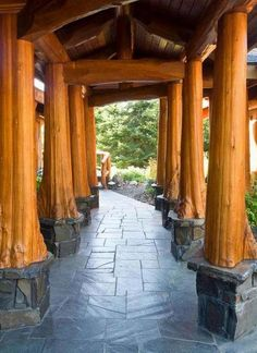 tree trunks used as columns | The Owner Builder Network