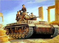 Panzer III Ausf. E de la 5. Panzerdivision avanza a través de restos arqueologicos en los Balcanes, Grecia 1941