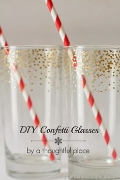 confetti glasses — we could do this with plastic glasses just as easily