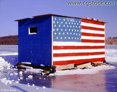Patriotic Ice House for winter time fishing. Drive your SUV with ice house on the trailer right out onto the 2-foot-thick ice covering the lakes. The ice houses typically have gas-powered electricity and heaters inside :) Hey, if yooo gotta' deal with brutal winters, yoooo might as well have fun!
