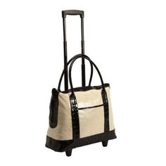 Waxed Linen Tote On Wheels This Uptown Wheeled Has The Low Gloss Look Of But It S Actually Covered In Easy Care Vinyl With Black