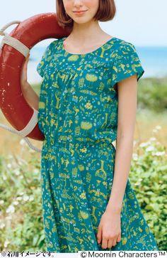 ムーミン 植物たちに包まれる てろりんワンピース(ブルー) | フェリシモ