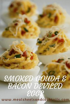 Smoked Gouda & Bacon Deviled Eggs - Meals, Heels & Cocktails Easter, when the ordinary egg takes center stage. You'll find them colorfull Deep Fried Deviled Eggs, Bacon Deviled Eggs, Deviled Eggs Recipe, Scrambled Eggs, Egg Recipes, Brunch Recipes, Appetizer Recipes, Snack Recipes, Cooking Recipes