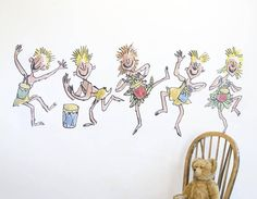 Transform your walls with this splendiferous wall sticker of Oompa Loompas, beautifully illustrated by Quentin Blake for Roald Dahl's 'Charlie and the Chocolate Factory'.