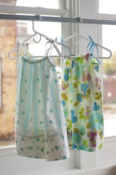 Homemade pillowcase dresses!  They are just like Hanna Andersson, but homemade! LOVE IT! Teacup Vintage: Repurposed: Vintage Linens