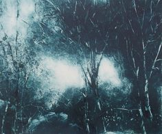 Original Art Blue Landscape Monotype Print Twilight Glade Dark Blue light Blue OOAK  Fine Art  Print by Zinnia Gallery by ZinniaGallery on Etsy Use PIN10 to get 10% off your first order over £40