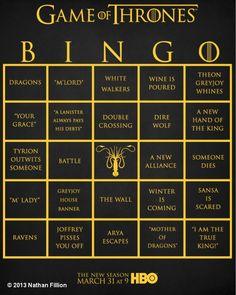 game of thrones bingo.