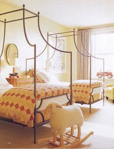 Playful accents, canopy beds