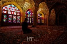 Calming atmosphare of Nasir Al Mulk mosque in Shiraz, Iran.
