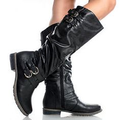 black boots with buckles Wide Calf Boots, Knee High Boots, Shoe Boots, Shoes, Women's Boots, Biker Chick, Motorcycle Outfit, Womens Flats, Fashion Boots