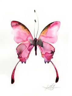 Pink Butterfly Watercolor Painting Abstract Art Original Ooak