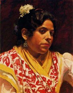 "Adolfo Lozano Sidro, pintor español, (1872-1935) ""Gitana''."