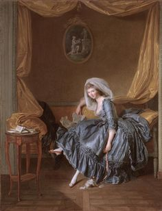 """Trinquesse, Louise Rolland  Dijon 1746 - Paris 1800  """"Jeune femme tenant sa correspondance dans son boudoir"""" We cannot be sure of the sitter in the painting here, for Trinquesse's interest lay not just in the particular features of a sitter, but in his or her sophisticated dress, languid pose, or well-appointed apartment interior. Madame de Framery possibly sat for this."""