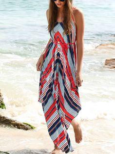 Women's Maxi Dress Spaghetti Straps Sleeveless Back Cross Irregular Hem Long Dress