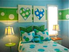 On the wall I like the green and white polka dot stripe I think that is a very cute idea for teen girl rooms.