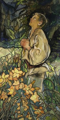 """Kazimierz Sichulski 1879-1942 (Polish), Triptych """"Spring I"""" - project of stained glass, tempera, watercolor, crayon and ink on carton, 1909"""