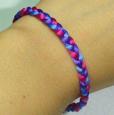 Custom Silk Cord Braided Bracelet Bisexual Bi Pride by MyBiPride, $10.00