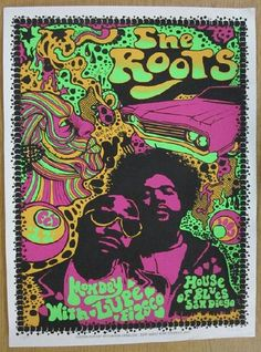 Original silkscreen concert poster for The Roots at The House of Blues in San Diego, CA in 2007. 18 x 24 inches. Signed and numbered out of 180 by the artist Darren Grealish.