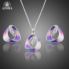 Unique Attractive Oil Painting Pattern Stellux Austrian Crystal Stud Earrings and Pendant Necklace Jewelry Sets TG0168