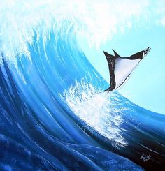 Surfiing Stingray Painting