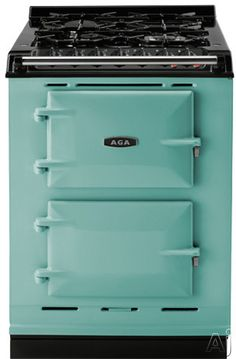 """AGA ACMPNGPIS 24"""" Cast-Iron Companion Dual Fuel Range with Natural Gas, Manual Clean, 4 Sealed Burners, Slow Cook Oven, Roasting Oven and Two Electric Ovens: Pistachio"""