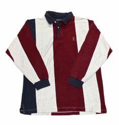 Vintage 90s Chaps Ralph Lauren Long Sleeve Striped Polo Shirt Mens Size Medium $30.00