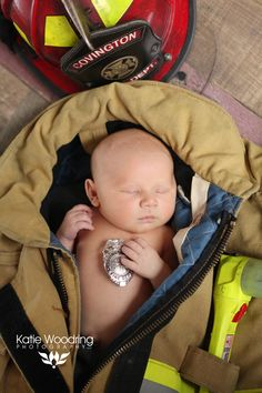 Firefighter newborn. Firefighter Baby  Katie Woodring Photography. Covington, Kentucky Fire Department.