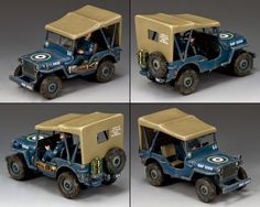 World War II British Royal Air Force RAF051 R.A.F. Jeep - Made by King and Country Military Miniatures and Models. Factory made, hand assembled, painted and boxed in a padded decorative box. Excellent gift for the enthusiast.
