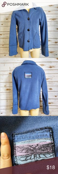 """Play Alegre Hand Painted Blue Fleece Jacket Play Alegre Hand Painted Blue Long Sleeve Fleece Jacket Materials: Acrylic/Polyester/Cotton Size: Small Measurements Laid Flat Bust:  21"""" Length: 25"""" Feel free to ask questions, I'll reply within 24 hours. Alegre Jackets & Coats"""