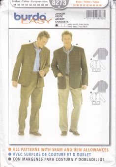 Sewing Pattern Burda 8273 Free Us Ship Mens Collarless Jacket Cardigan with pockets FF UNCUT Size Chest 34 to 50 by LanetzLiving on Etsy Mens Sewing Patterns, Burda Patterns, Collarless Jacket, Vintage Men, Suit Jacket, Ship, Pockets, Couture, Free