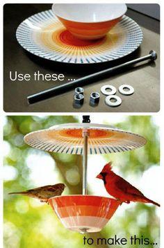 I love this upcycled bird feeder