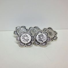 Set of 5 Silver Plated Antique Style Rose Buttons (New) Style Rose, Beads For Sale, Stocking Fillers, Metal Buttons, Flower Shape, Silver Plate, Original Art, Miniatures, Shapes