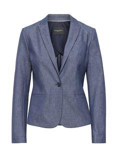 a931e7a0346b3 Banana Republic Womens Classic-Fit Chambray Blazer Navy Blue Chambray  Blazer, Navy Blue Blazer
