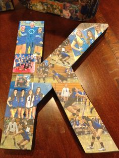 I think that this would be a cool and creative craft to do with all of my daughters volleyball pictures. Volleyball Senior Gifts, Softball Crafts, Senior Night Gifts, Volleyball Pictures, Volleyball Mom, Gymnastics Photos, Volleyball Decorations, Soccer Senior Pictures, Cheer Pictures