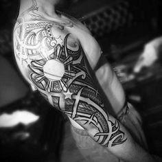 Mens Filipino Tribal Tattoo Design Inspiration Half Sleeve