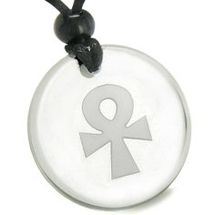 Amulet Ankh Egyptian Power of Life Spirit and Crystal Quartz Pendant Necklace