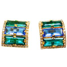 William De Lillo Glam Earrings | From a unique collection of vintage clip-on earrings at https://www.1stdibs.com/jewelry/earrings/clip-on-earrings/