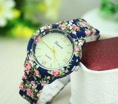Dámske hodinky Geneva Flower modré inzercia, bazár www.predavajmodu.sk