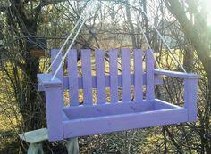 Bird Feeder - Garden Decor - Hanging Bird Feeder - Garden Bird Feeder - Wood Porch Swing Bird Feeder - Garden Art Bird Feeder - Lavender Feeder